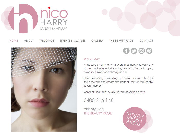 Makeup Artists Website Design