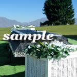 Funeral with Dove Basket - White Wicker