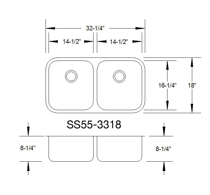 Double Kitchen Sink Dimensions Dc distribution sinks quartz fabrication kitchen and bath actual dimensions may vary slightly exact cut out template is included with sink workwithnaturefo