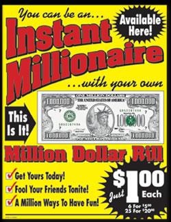 Counter Cards Advertising Million Dollar Bills