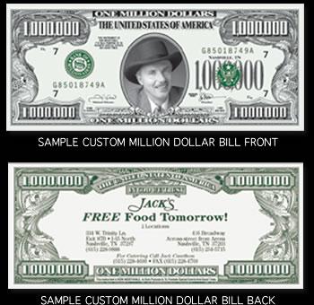 Custom Front Million Dollar Bills
