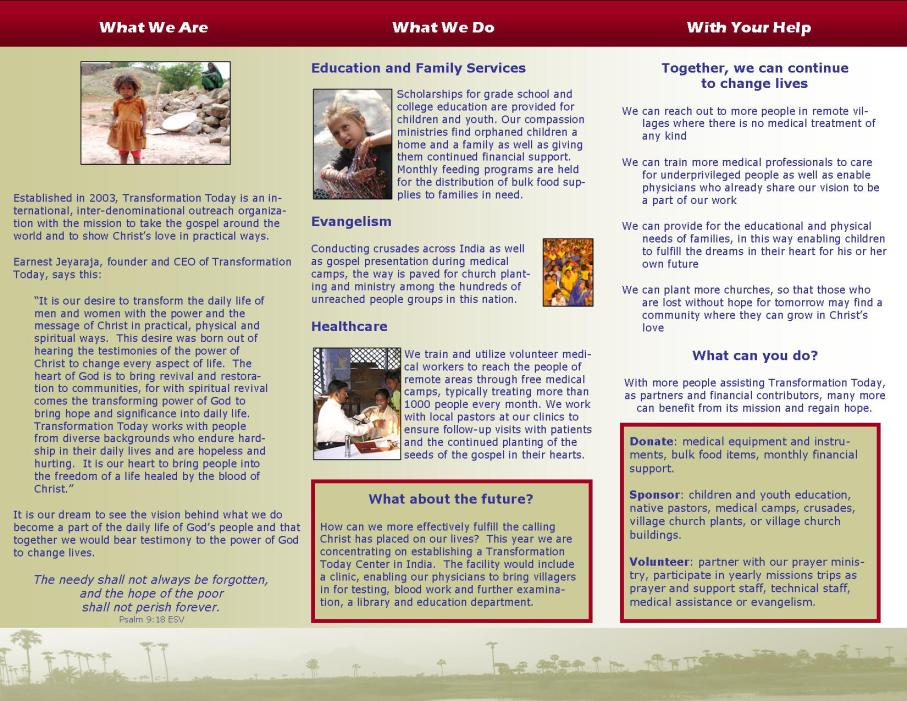 transformation today empower educate evangelize brochures