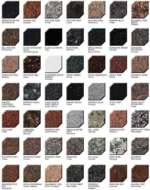 Granite Colors and Descriptions - Click Image