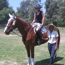 Ginny Planke with Morgan Brown: Taking a break on the famed Cricket Field at the Los Angeles Equestrian  Center.