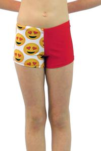 Red Heart Love Emoji Leotard Shorts