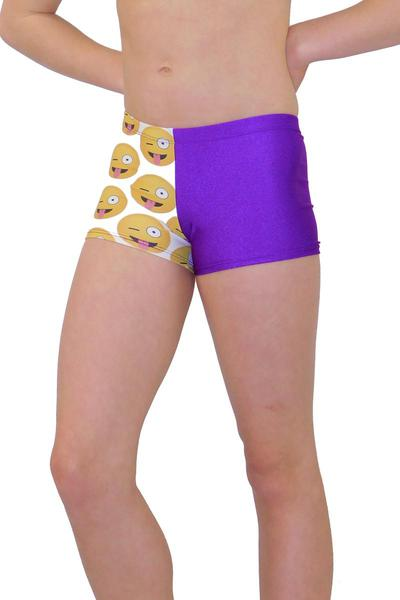 Winky Crazy Emoji Leotard Shorts