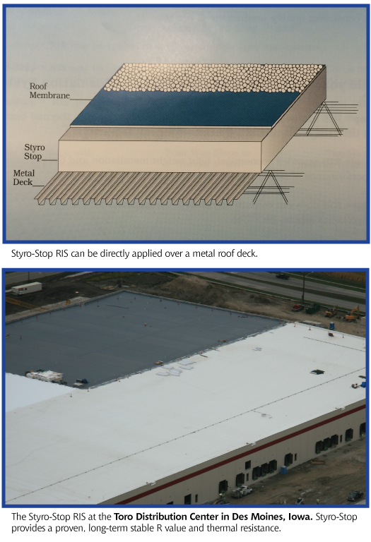 What is Styro-Stop? Styro-Stop Roof Insulation (RIS) is an expanded polystyrene roof insulation system that can be directly applied over metal roof deck. It may be used in a new and reroofing application with BUR and single pry systems. It is available for use in flat, tapered and compound tapered systems. Styro-Stop may have up to 7  thickness in flat applications and an average of 7  thickness in tapered applications. Iowa EPS Products in Des Moines, Iowa.