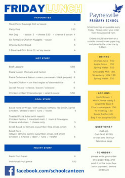 Download our current Canteen Menu
