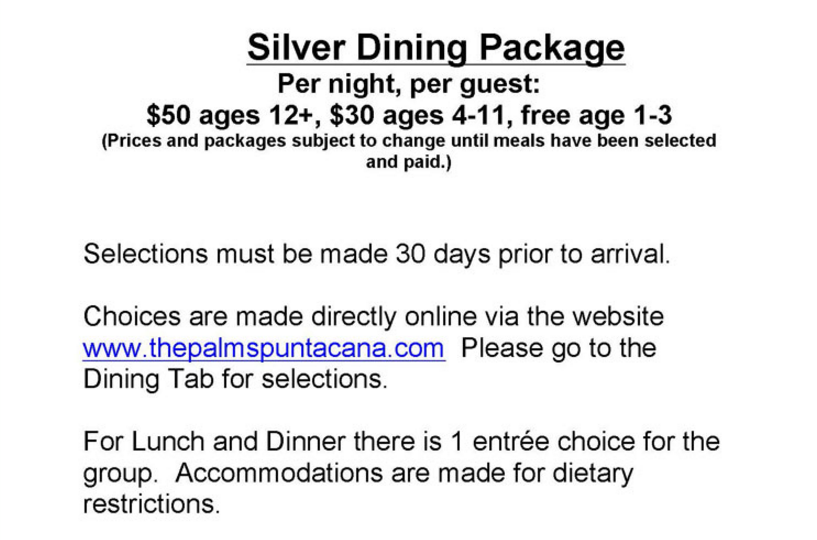Silver Dining Package