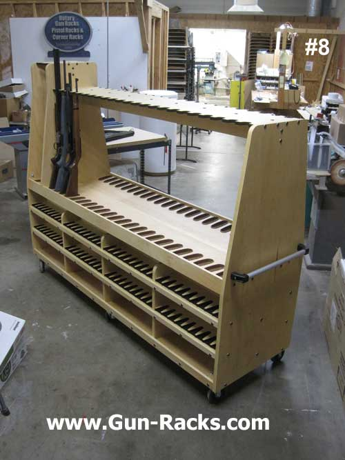 A Frame Style Gun Rack with Shelves Large
