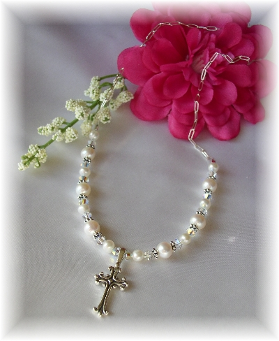 Swarovski and Freshwater Pearl First Communion Necklace