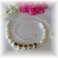 Swarovski and Freshwater Pearl Personalized First Communion Necklace