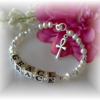Swarovski and Freshwater Pearl First Communion Bracelet