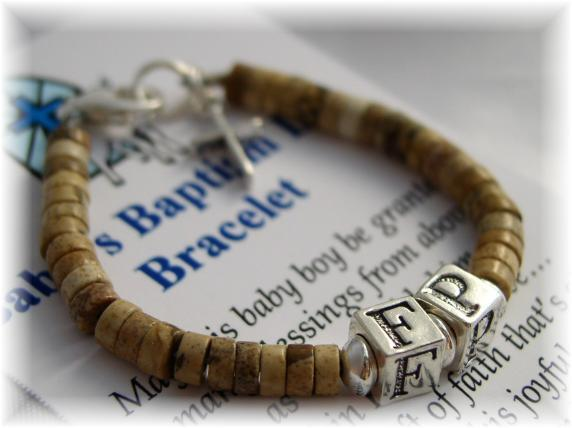Personalized baby baptism bracelet for boys