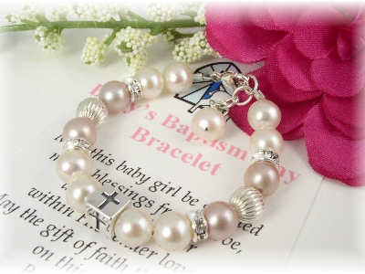 cross simple dp baptism girl christening baby bracelet
