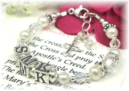 3bca000b397fa Personalized Baby Baptism Rosary Bracelet for Girls - White Pearl and  Crystal