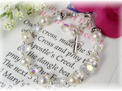 Baby Baptism Rosary Bracelet Freshwater Pearl and Swarovski Crystal