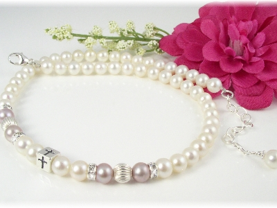 Baby Baptism Christening Necklace Pink White Freshwater Pearl