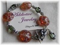 Lampwork Bracelet Bali Sterling Silver Swarovski Crystal
