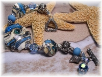 Lampwork bracelet Swarovski crystal Bali Karen Hill tribe sterling silver