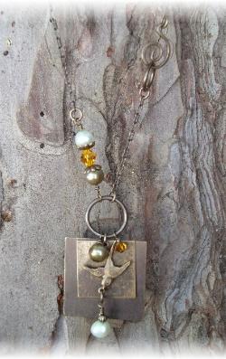 Vintaj brass necklace Freshwater pearls and Swarovski crystals