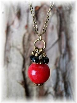 Vintaj brass necklace ruby jade