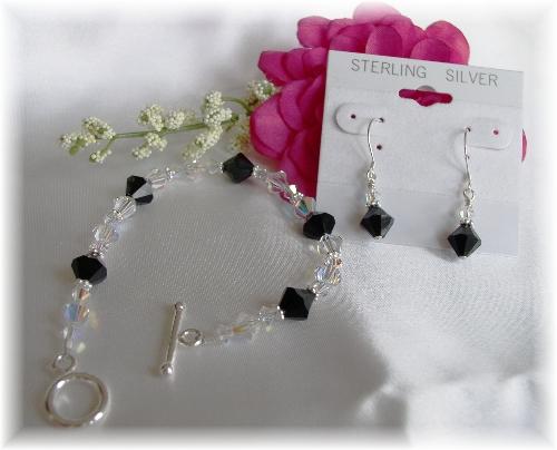 Swarovski crystal bridesmaid bracelet and earrings