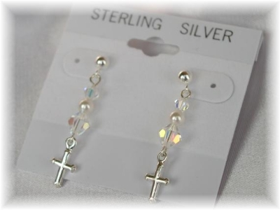 Crystal Pearl and Sterling Silver Cross Drop Earrings