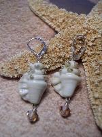 OOAK Lampwork  Earrings Conch Shells