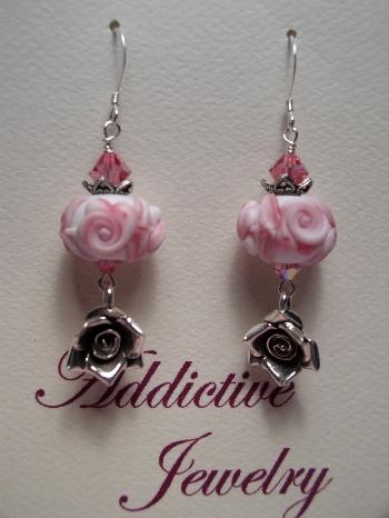 White Rose Cameo Lampwork Earrings
