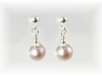 Pink Freshwater Pearl Earrings on sterling silver post