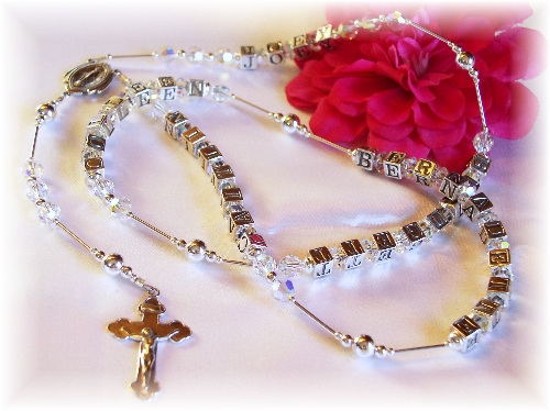 Swarovski Crystal Personalized Name Rosary