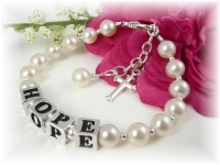 First Communion Name Bracelet White Freshwater Pearl
