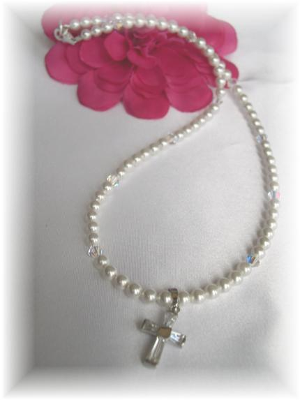 Swarovski pearl First Communion Necklace