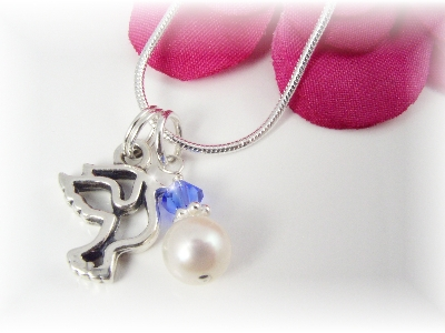 Sterling Dove Pendant Necklace with Birthstone and Pearl