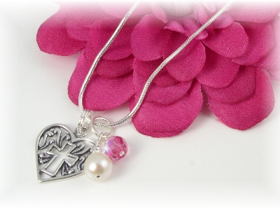 Sterling Heart Pendant Necklace with Birthstone and Pearl