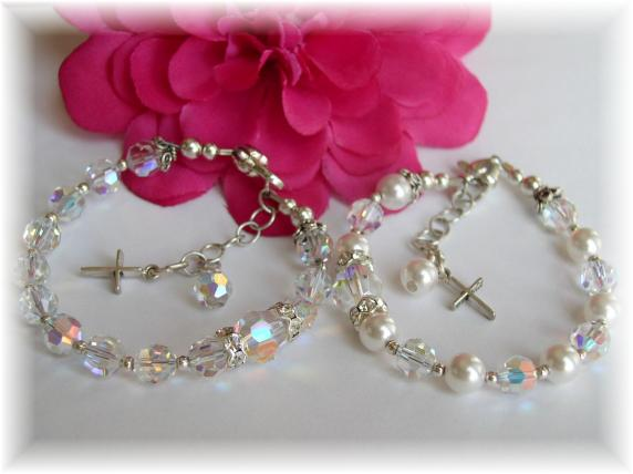 Girl Rosary Bracelet Swarovski Crystal and Pearl