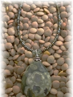 Seed bead, rhyolite pendant