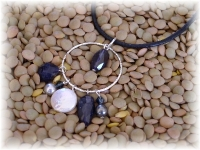 Leather, sapphire, pearl  and sterling silver necklace