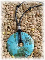 Leather, turquoise and sterling silver necklace