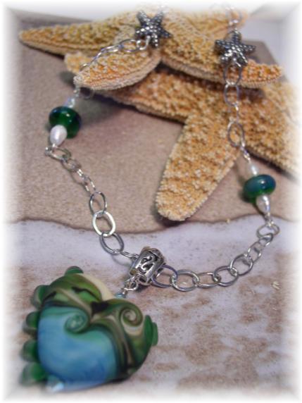 Lampwork necklace FWP Karen Hill Tribe Silver