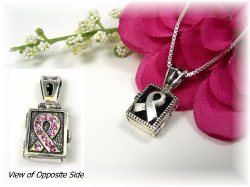 Sterling Silver Awareness Prayer Box Necklace