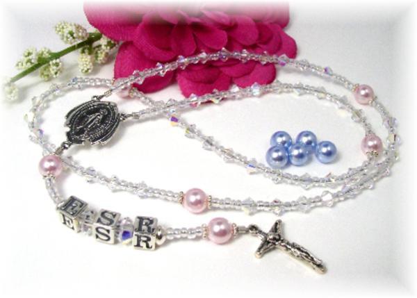 Personalized Baby Rosary Swarovski Crystal