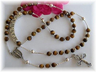 Tiger Eye Personalized Boys Rosary