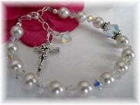 Girl Rosary Bracelet Swarovski Crystal and Pearl