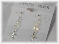 Crystal Pearl and Sterling Silver Cross Drop Earrings