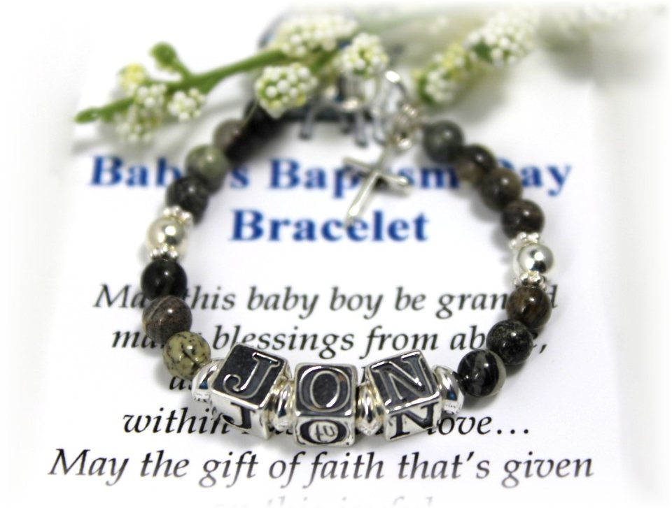 christening baptism gift blue boy baby pin bracelet personalized