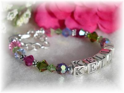 Swarovski multi-colored crystal name bracelet