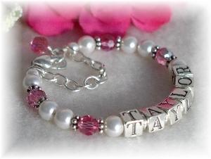 Swarovski Crystal Birthstone and Pearl Name Bracelet