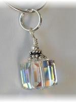 Swarovski Crystal AB Cube Pendant